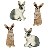 HanYoer 4 pcs Rabbit Toy Figure, Rabbit Figure Toy Collection Playset, Cake Topper, Garden Plant, Automobile decoration