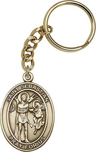 Gold Toned Catholic Saint Sebastian Medal Key Chain ()