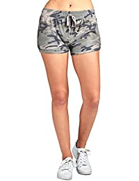 Drawstring Waist Detail All Over Camo Print French Terry Dolphin Hem Shorts