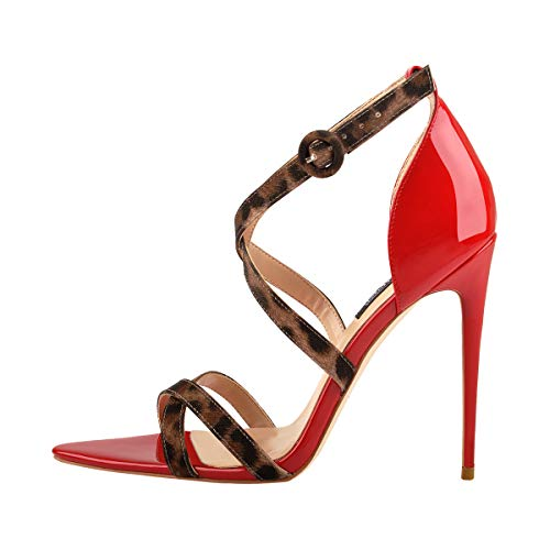 Onlymaker Womens Criss Cross Leopard Ankle Strap Stilettos Sandals Open Toe Heeled Summer Party Dressing Prom Shoes Red US Size 14