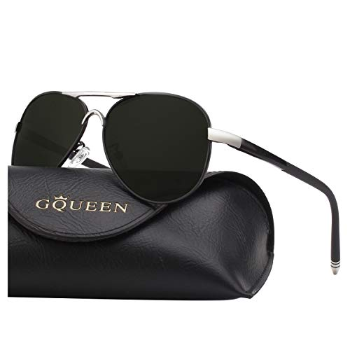 - GQUEEN Mens Premium Military Style Pilot Polarized Sunglasses UV400 Protection Metal Frame with Spring Hinges GQ83