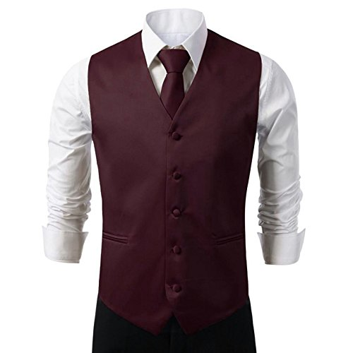 Burgundy Vest Set - Brand Q 3pc Men's Dress Vest NeckTie Pocket Square Set for Suit or Tuxedo (M (Chest 42), Burgundy)