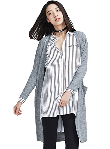 meters-bonwe-womens-solid-open-front-longline-knit-cardigan-with-pockets-grey-m