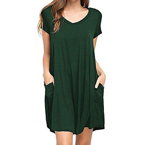 Summer T Shirt Dress for Women Casual Solid Plain Simple Pocket T Shirt Loose Dress -