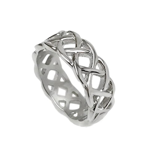 Mens Silver Braided Stainless Steel Celtic Knot Band Ring Love Wedding Non Tarnish (Size 9)