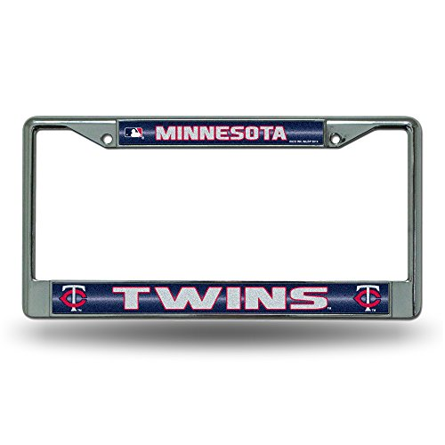 Rico MLB Minnesota Twins Bling License Plate Frame, Chrome, 12 x 6-Inch