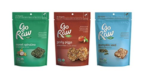 Go Raw All Organic Gluten-Free Sprouted Bites & Snax 3 Flavor Variety Bundle: (1) Go Raw Organic Pumpkin Seed Sprouted Bites, (1) Go Raw Organic Zesty Pizza Sprouted Flax Snax, and (1) Go Raw Organic Sweet Spirulina Sprouted Bites, 3 Oz. Ea. (3 Bags Total)