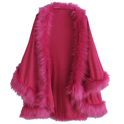 Gillberry Women's Faux Fur Collar Poncho Cape Stole Wrap Hoody Sweater Coat (free size, Hot (Hot Bodies Clutch)
