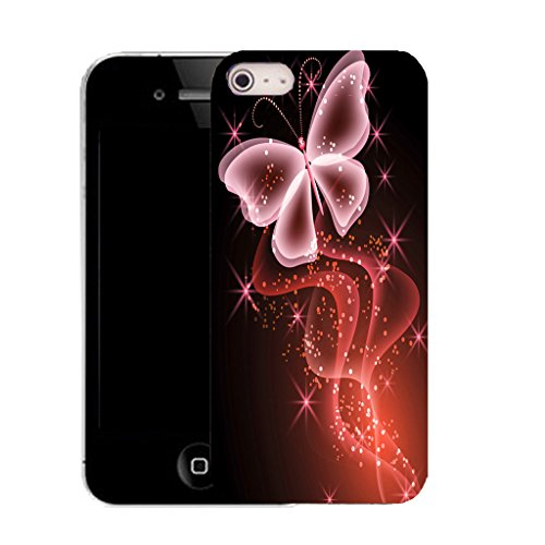 Mobile Case Mate IPhone 4s clip on Silicone Coque couverture case cover Pare-chocs + STYLET - red sparkle butterfly pattern (SILICON)