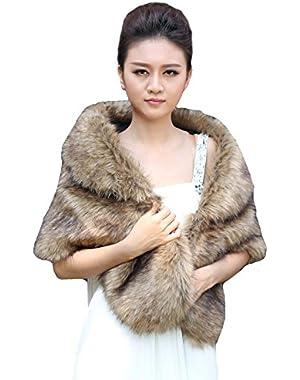 Women's Wedding Fur Wraps and Shawls for Women, Bridal Fur Stole