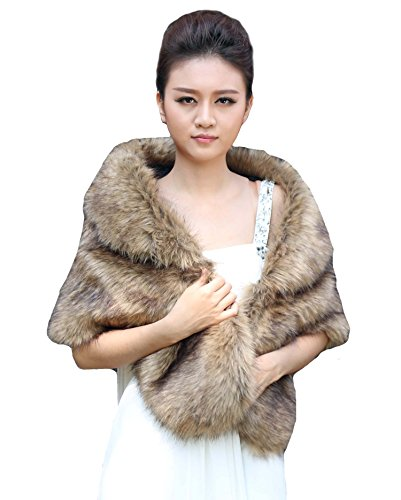 Aukmla Women's Wedding Fur Wraps and Shawls for Women Bridal Fur Stole (Brown) by Aukmla