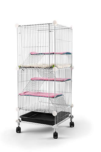 QCM Pet Hutch Cage for Squirrel/Bunny/Rabbit/Ferret/Chinchilla/Guinea Pig/Rat or Other Small Animals Indoor, Expandable and Stackable, 14x14x28 in