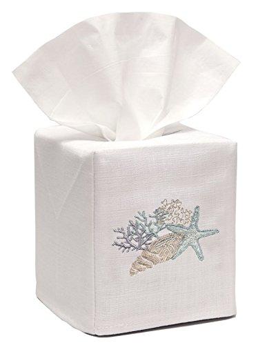 - Jacaranda Living Linen/Cotton Tissue Box Cover, Shell Collection, Duck Egg Blue