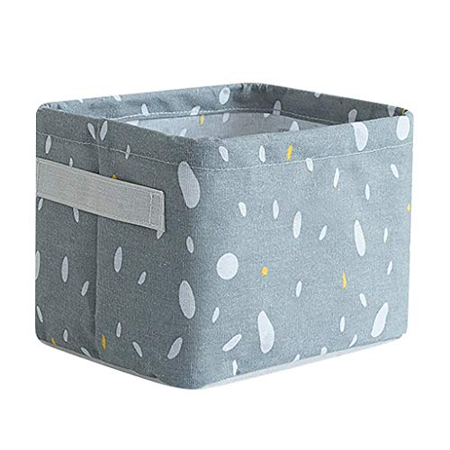 ANJUNIE Home Fabric Basket Box Storage Ornaments Linen Cosmetic Case Desktop Stationery(Gray,One Size)