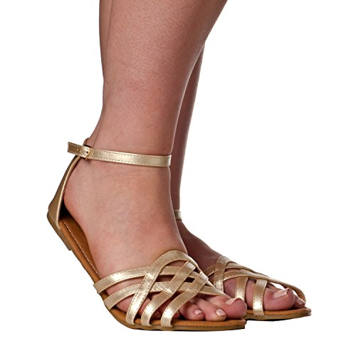 aith' Huarache Open Toe Summer Sandals, Gold, 9 (Women Flat Sandals)