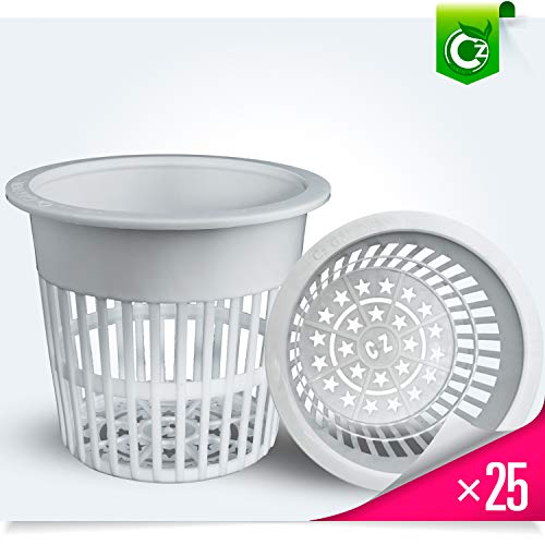 25pk – 4 inch Net Pots Cz All Star Round Heavy Duty Cups Wide Lip Design – Orchids Hydroponics Slotted Mesh