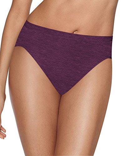 High Cut Full Brief (Hanes Women's Ultimate Cool Comfort Hi Cut, Buff/Plum/Purple/Black, 9)