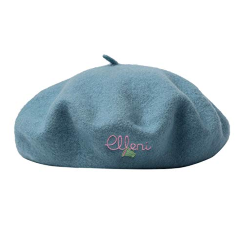 Crytech Winter Warm Beret Hat Fashion Women Vintage Letter Embroideried French Style Wool Artist Cap Elegant Solid Color Lightweight Casual Outdoor Painter Beanie Beret for Ladies (Sky Blue)