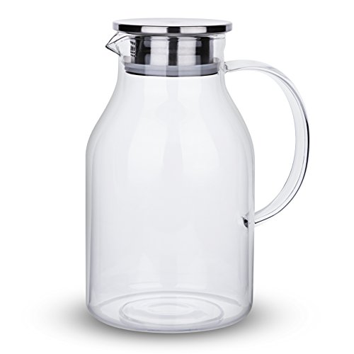68 Ounces Glass Pitcher with Lid, Water Jug for Hot/Cold Water, Ice Tea and Juice Beverage by Karafu (Image #1)