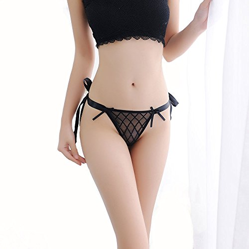 de Bowknot Ribbons Sexy Lace Thongs Panties Adjustable G-String Underwear(Black (Side Ribbon Lace)