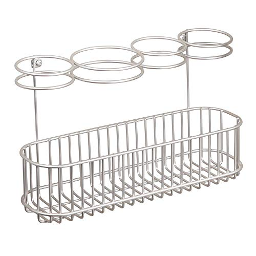 mDesign Metal Wire Cabinet/Wall Mount Hair Care & Styling Tool Organizer - Bathroom Storage Basket for Hair Dryer, Flat Iron, Curling Wand, Hair Straightener, Brushes - Holds Hot Tools - Satin by mDesign (Image #5)