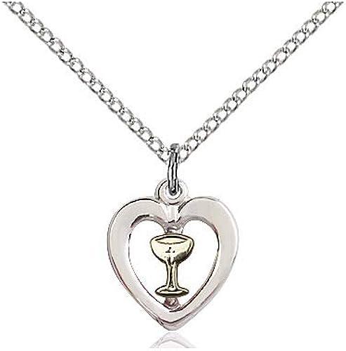 DiamondJewelryNY Two-Tone SS//GF Heart//Chalice Pendant