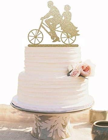 Decoración para tarta de boda dorada con bicicleta lista para enviar decoración de boda: Amazon.es: Hogar