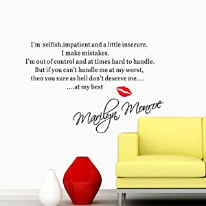 """Annong """"I'm Selfish....... Marilyn Monroe"""" Famous Quote Vinyl Wall Stickers Art Decal Decoration Home Decor Mural"""