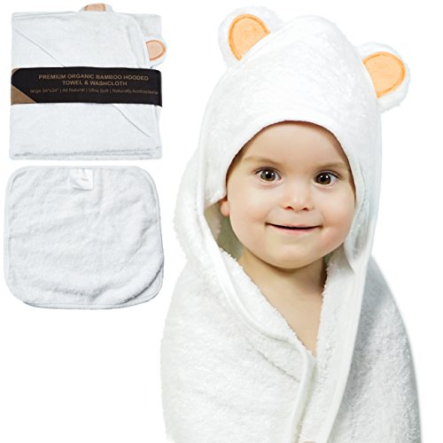 [Organic Bamboo Hooded Baby Bath Towel By JoL's Home – Soft & Luxurious Infant Bathrobe, Hypoallergenic & Anti-Bacterial Fabric, Adorable Bear Ears, Absorbent & Large Toddler Towel – BONUS] (Extra Head Costume)