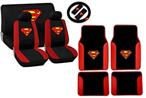 15 piece auto interior gift set superman logo 2 front seat covers 2 front and 2. Black Bedroom Furniture Sets. Home Design Ideas