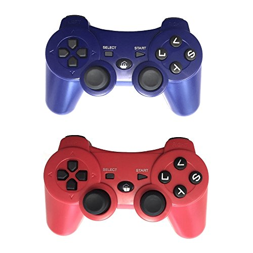 2 Pack Wireless Bluetooth Controller  Gamepad Remote For For Ps3  Blue Red