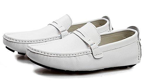 Aisun Heren Trendy Comfortabele Ronde Neus Slip-ons Flats Moccasin-gommino Stuiver Loafers Rijden Bootschoenen Wit
