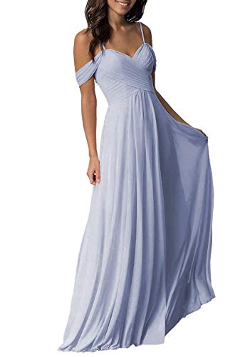 Periwinkle Wedding Bridesmaid Dresses Long Cold Shoulder Chiffon Formal Party Dress for Women]()
