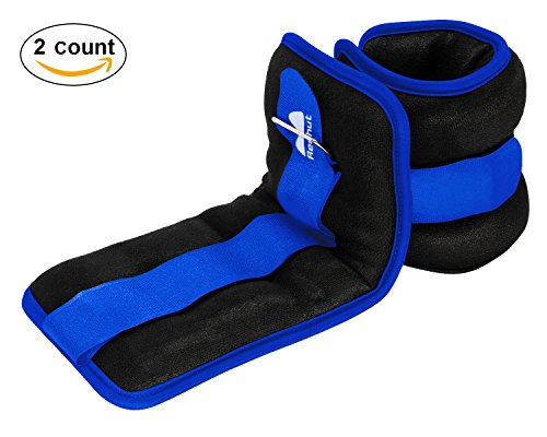 Reehut Ankle/Wrist Weights (1 Doublet) w/Adjustable Strap for Fitness, Exercise, Walking, Jogging, Gymnastics, Aerobics, Gym - Blue - 2 lbs (×2)