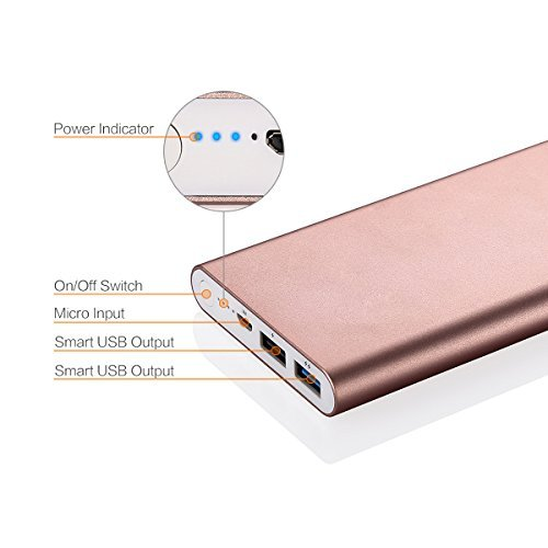 [Upgraded] Poweradd 2ND Gen Pilot 2GS 10000mAh Portable Charger External Battery Pack with Smart Charge for iPhone, Ipad, Samsung Galaxy, Smartphones and Tablets - Rose Gold