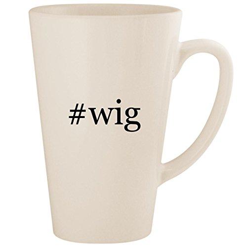 #wig - White Hashtag 17oz Ceramic Latte Mug Cup ()