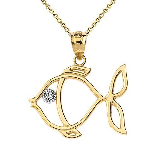 10k Yellow Gold Diamond Tropical Angelfish Outline Pendant Necklace, 18