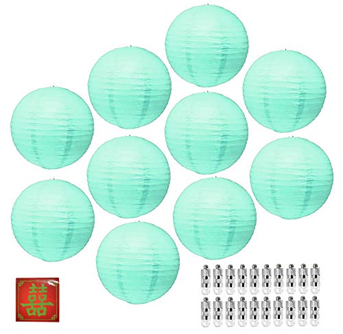 Mudra Crafts Paper Lantern with Led Light, Chinese Japanese Decorative Round Hanging Lamp (Mint 12 Inches 10 -