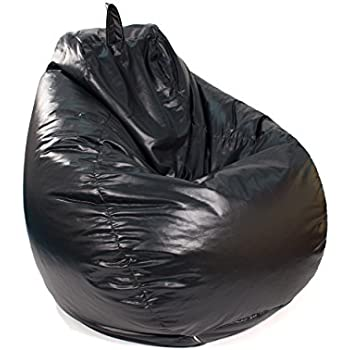 Gold Medal Bean Bags Tear Drop Leather Look Vinyl Bean Bag, Large, Black