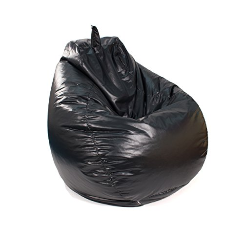 Gold Medal Bean Bags Tear Drop Leather Look Vinyl Bean Bag, Large, Black Black Vinyl Bean Bag