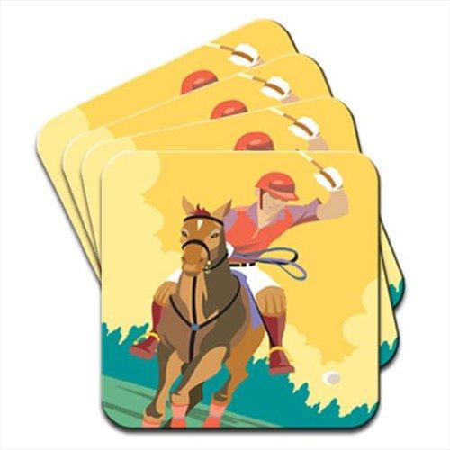Jugador jugando Polo en la parte trasera de caballo juego de 4 ...
