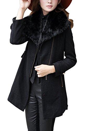 TOOGOO(R) Abrigo de lana grueso de cuello de piel calido de mujer Chaqueta de cremallera de solapa Negro S