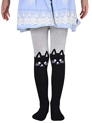 Cute Baby Costumes For Teenage Girls (BaiX Little Girls' Cute Patchwork Cotton Footed Tights Spring Fall Stockings, 5-7 Years, Grey Cat-1)