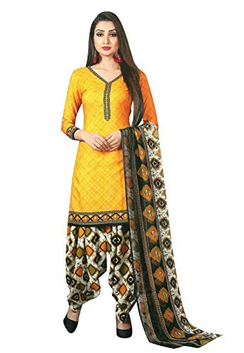 Ladyline Ready to wear French Crepe Printed Salwar Kameez Suit Indian Pakistani Dress (Size_36/ Gold)