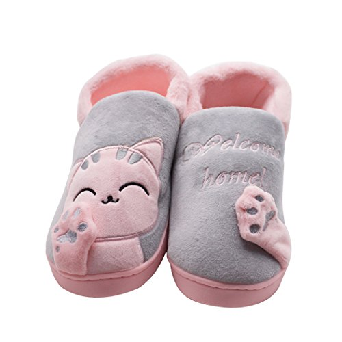 Plush Booties (UNIMONG Women's Plush Winter Soft Cute Lucky Cat Booties Slippers House Shoes Outdoor&Indoor 6-7B(M)US Grey)