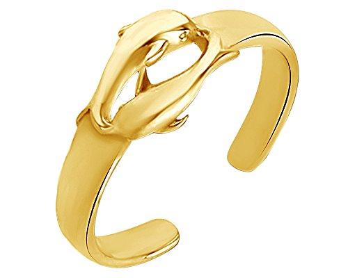 (Wishrocks 14K Gold Over Sterling Silver Dolphin Adjustable Toe Ring)