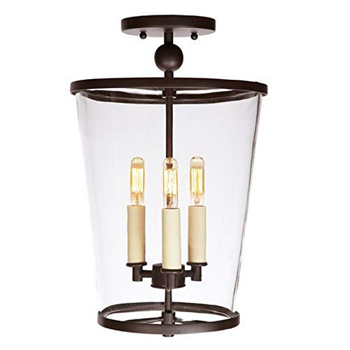 (JVI Designs 3053-08 Charleston - Three Light Medium Semi-Flush Mount, Oil Rubbed Bronze Finish with Clear Glass )