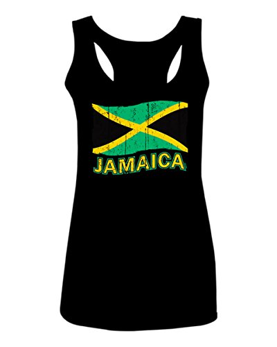 Jamaica Tee Jamaican National Country Flag Tee Carribean Women's Tank Top Sleeveless Racerback (Black, Small)