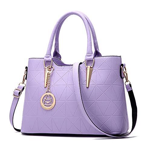 Lined Quilted Satchel - Women Leather Satchel Handbag Medium Quilted Shoulder Bag with Adjustable Cross Body Straps - Purple