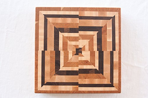 Chopping Blox Square End Grain Cutting Board Abstract Pattern - Walnut,Maple,Cherry. ABXB-W